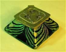 82: Kralik Arts & Crafts Art Glass Inkwell