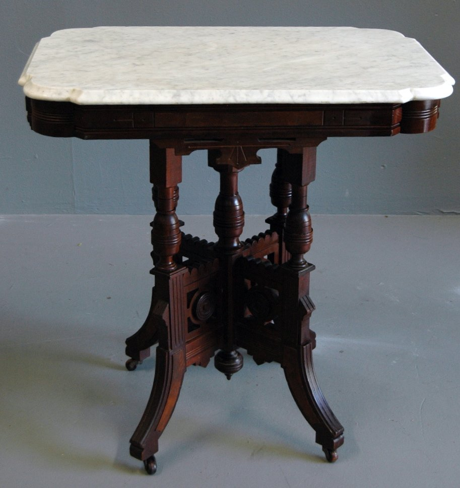 16: Victorian Eastlake Marble Top Table