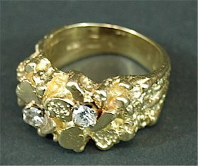 2: Gold Nugget & Diamond Ring