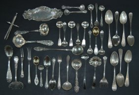 4: Group of Sterling & 1 Silver Plate Tong