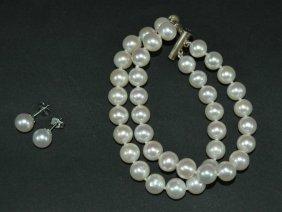 6: Pearl Double Strand Bracelet & Earrings