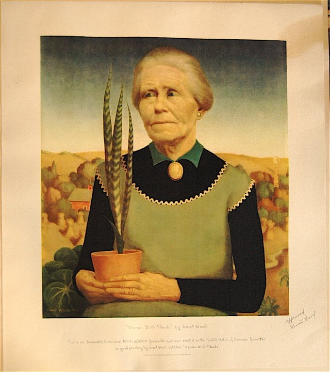 "145: Grant Wood (1892-1942) ""Woman with Plants"""