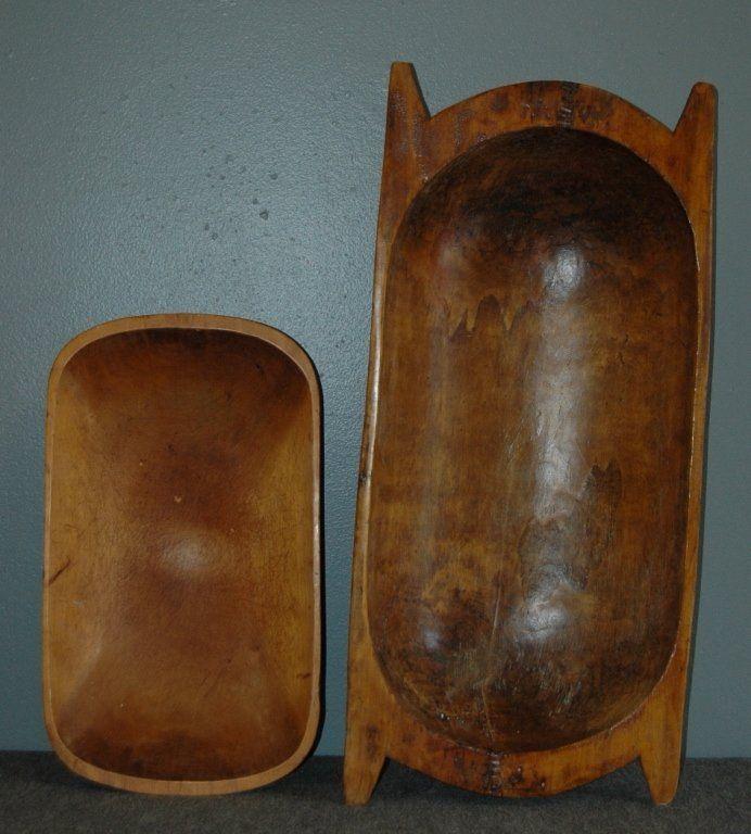 208: 2 Antique Primitive Wooden Bowls