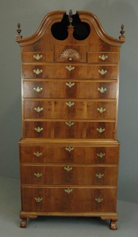 Chippendale Bonnet Top Chest on Chest