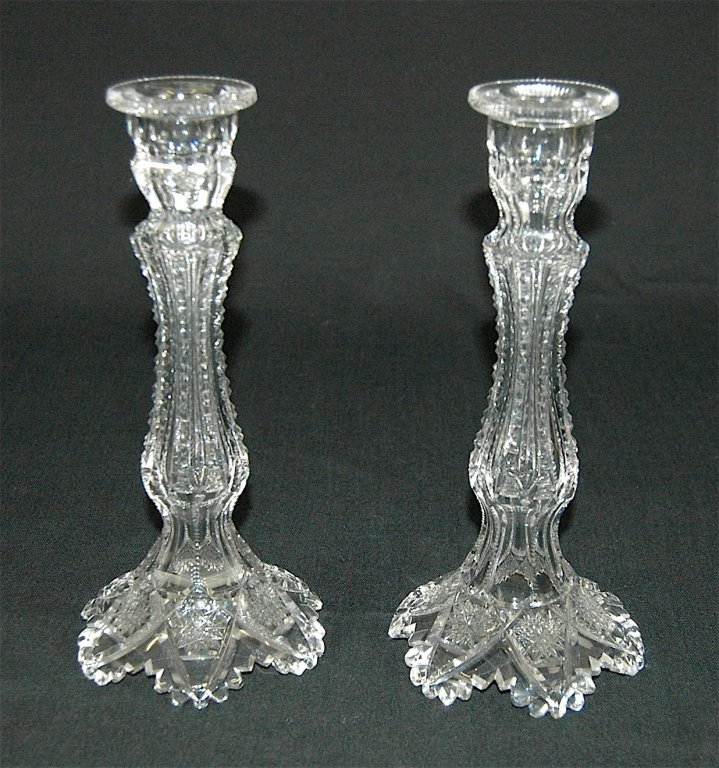Libbey Cut Glass Candlesticks