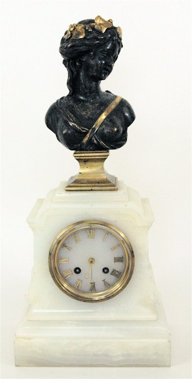 White Alabaster Clock with Bust of Maiden