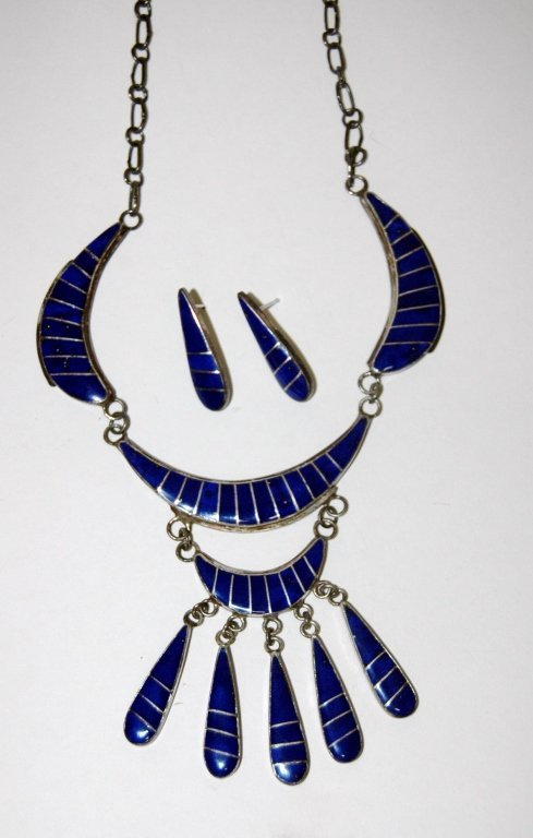Sterling Silver and Enameled Necklace Set