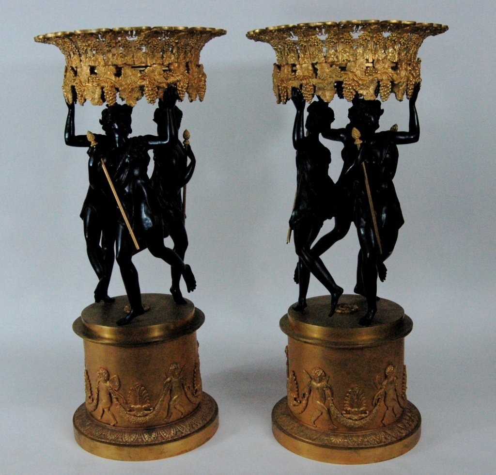 French Empire Style Bronze Mantle Garnitures