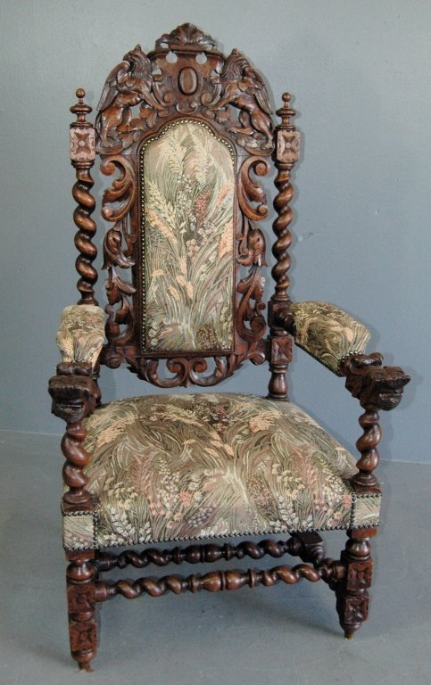 Carved Oak Throne Chair