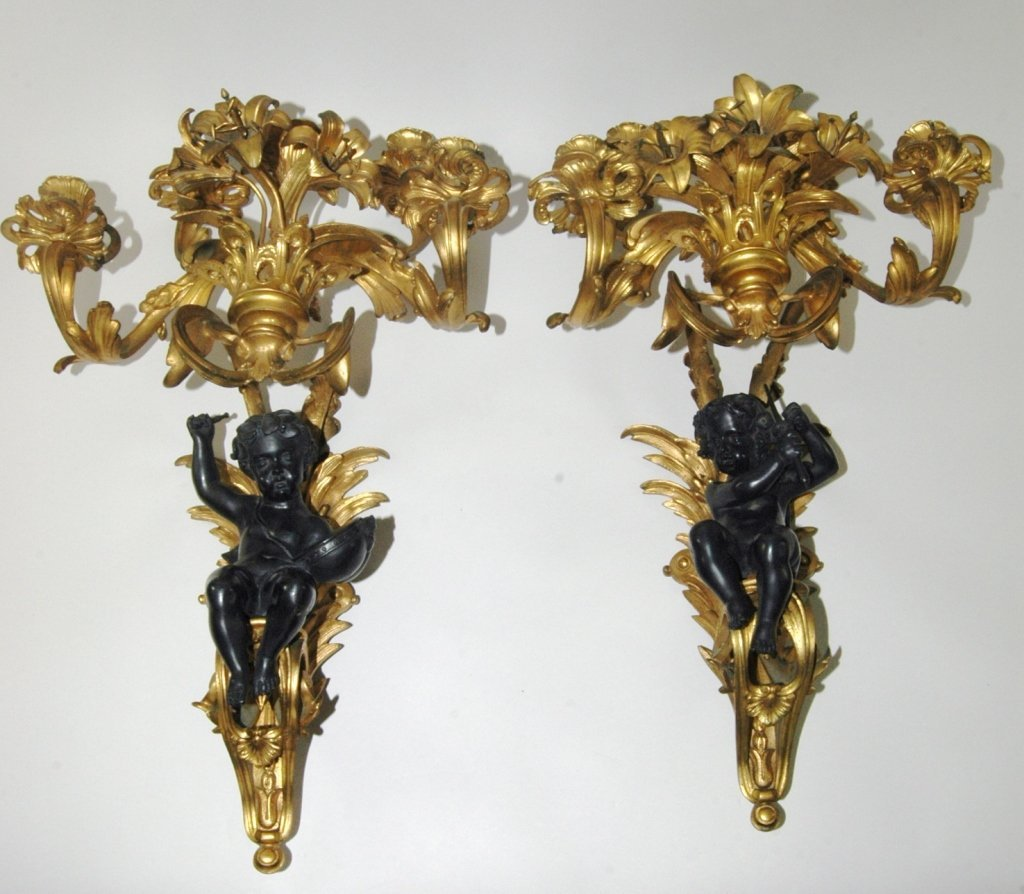 Pair Gilt Bronze Wall Sconces