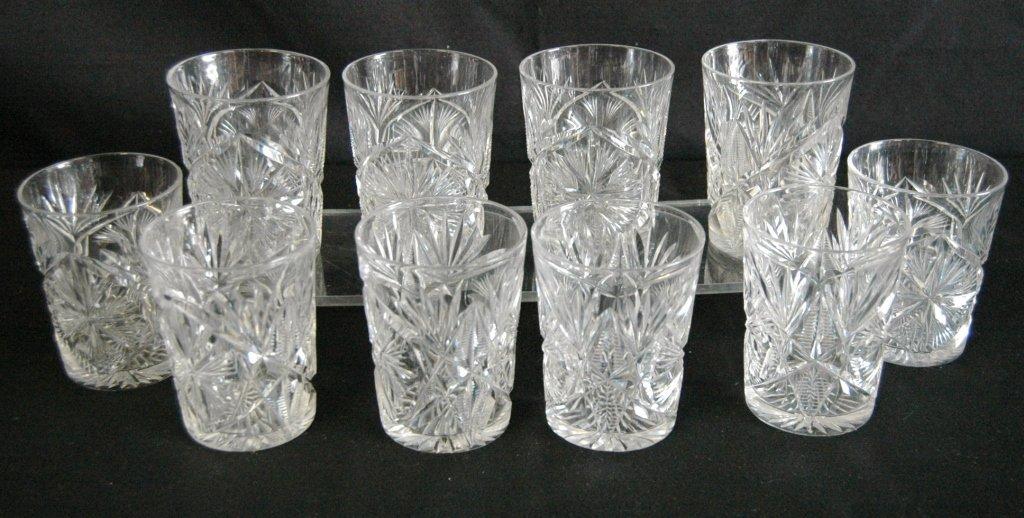 10 Libby Cut Glass Tumblers