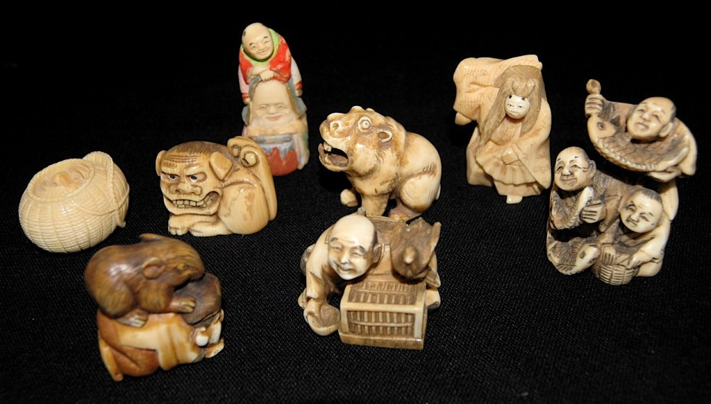 8 Carved Ivory Netsukes