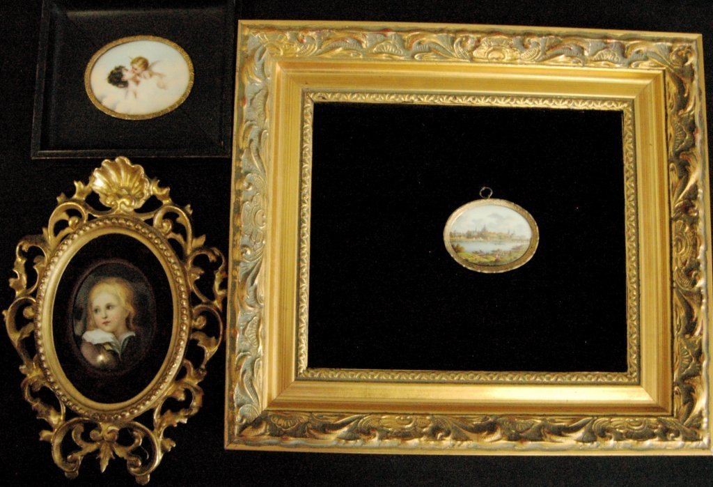 Group of 3 Miniature Paintings on Porcelain
