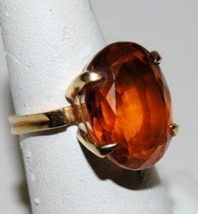 18K Oval Citrine Ring