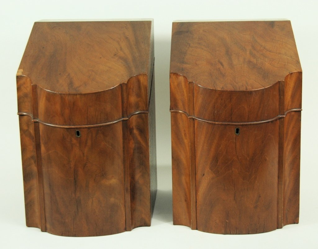 Pair Georgian Mahogany Knife Boxes
