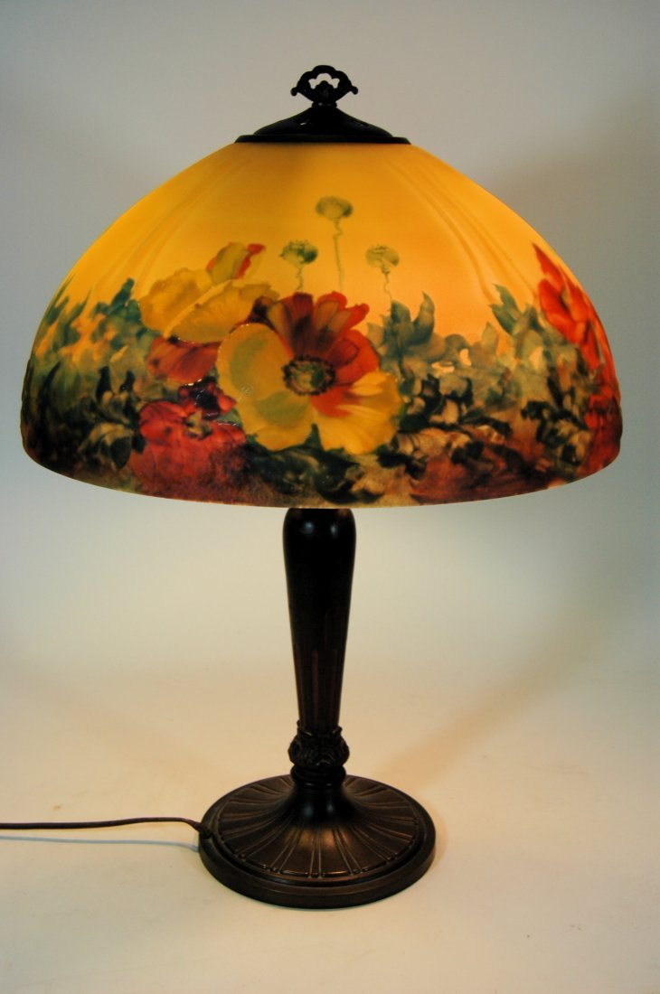 "Handel ""Poppy"" Reverse Painted Lamp"
