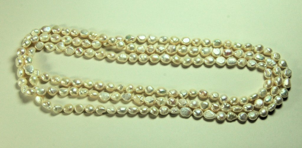 "65"" Strand of Cultured Baroque Pearls"
