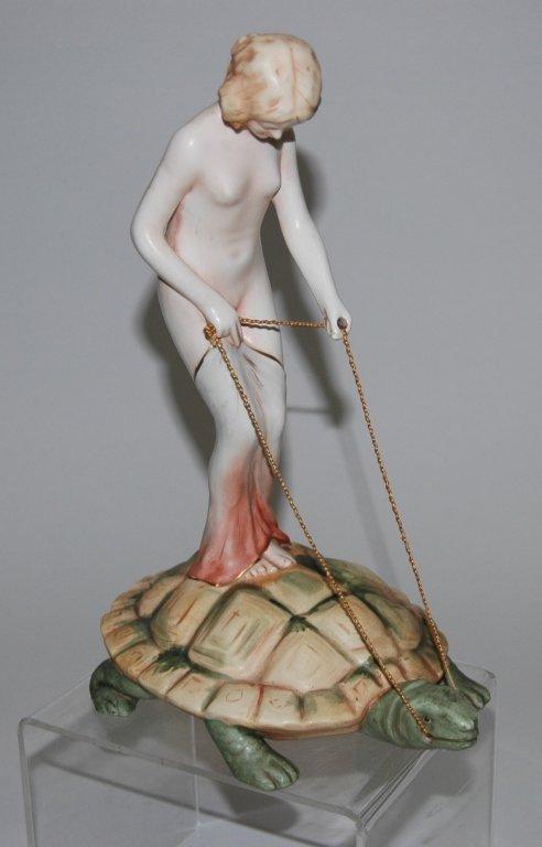 Czechoslovakian Art Deco Girl Riding Turtle