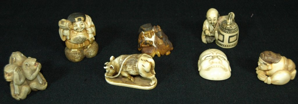 7 Carved Ivory Netsukes