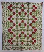 """1860 Applique Quilt """"Peonies"""""""