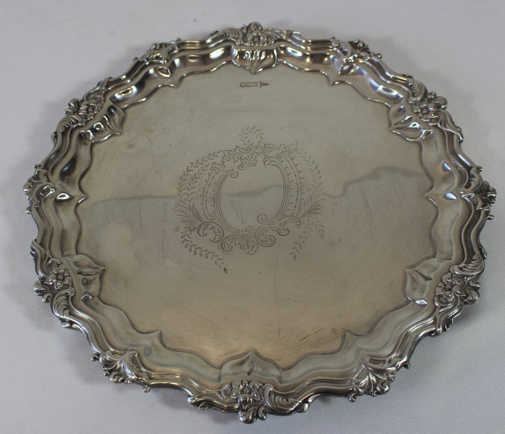 English Chippendale Sterling Silver Salver