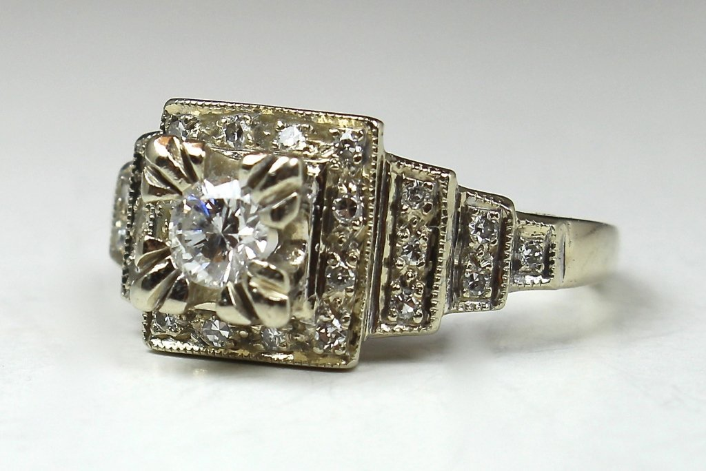 14K Diamond Edwardian Style Ring