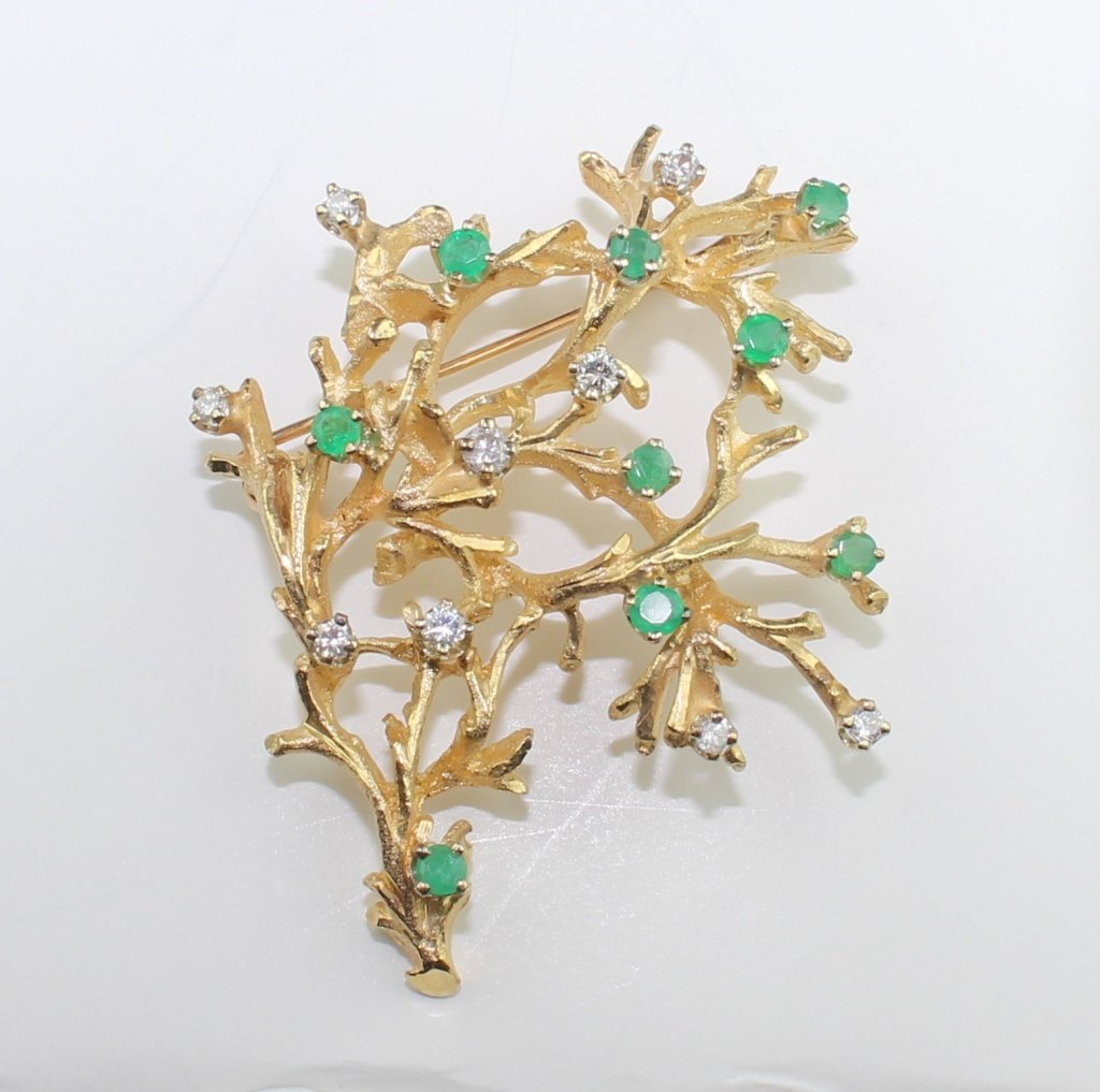 14K Emerald & Diamond Brooch