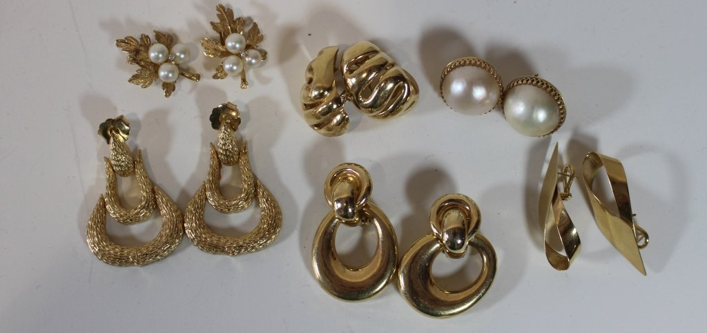 6 Pairs 14K Gold Earrings