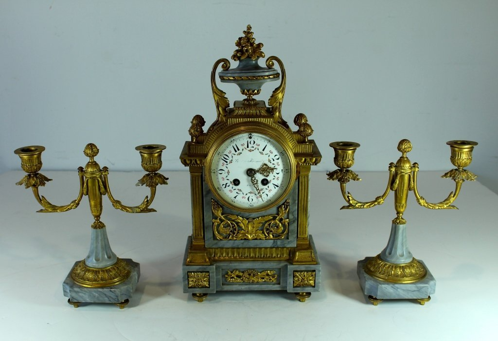 French Mantle Clock Set