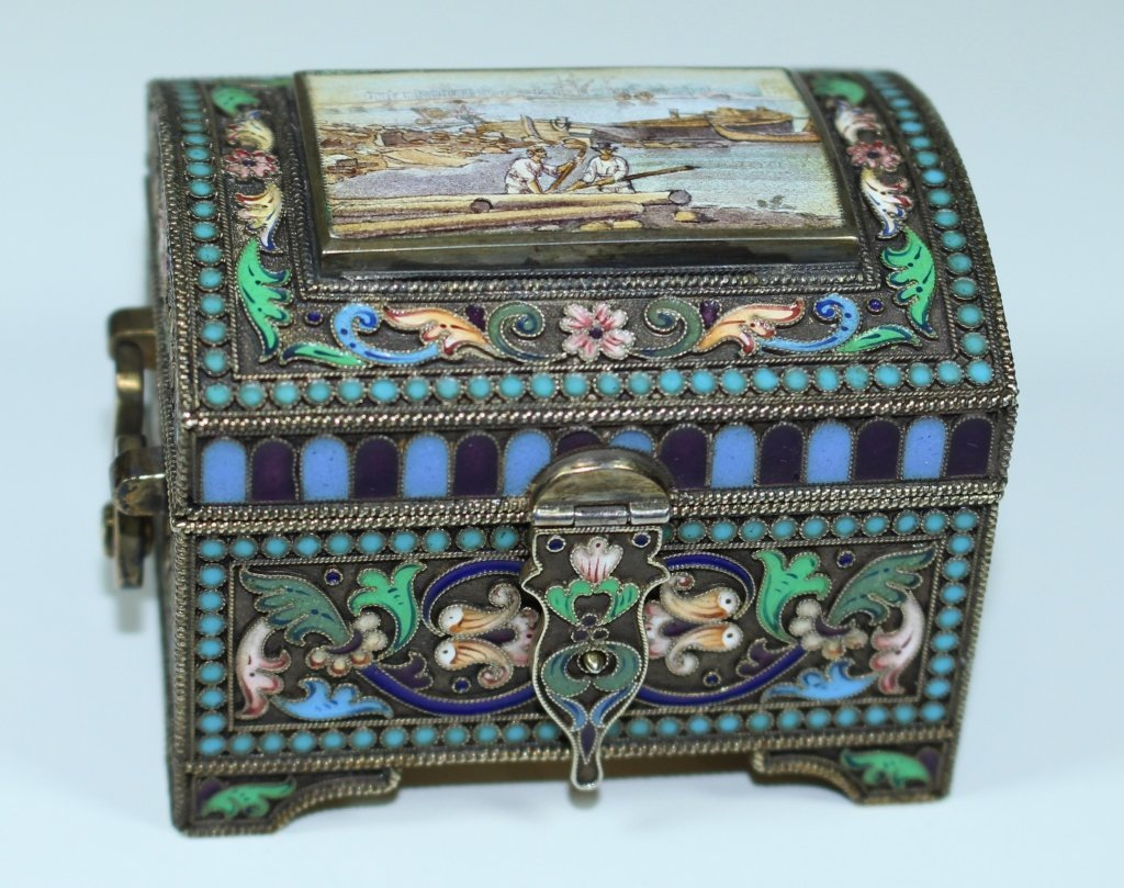 Russian Silver Gilt Enameled Box