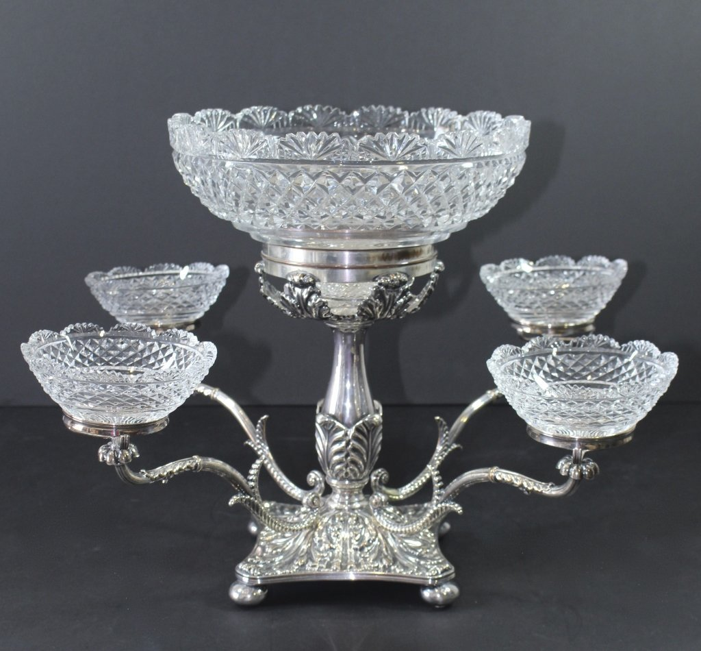 English Silverplate and Cut Glass Epergne