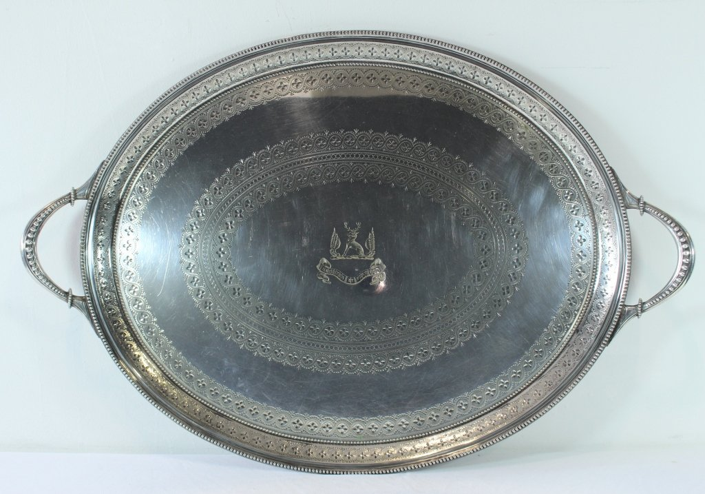 Fine Sheffield Armorial Tray