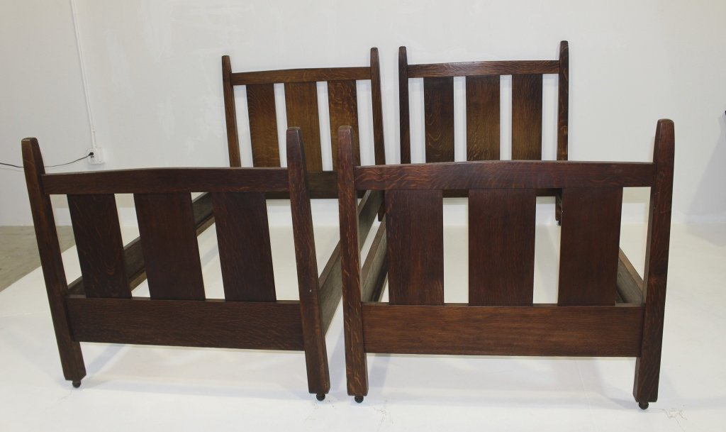 Pair of Gustav Stickley Twin Beds #923