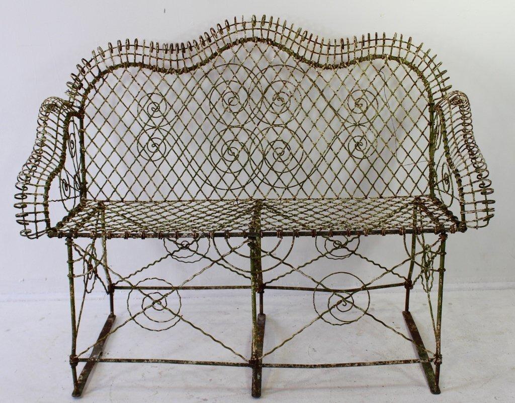 Late 19th Century Wire Work Garden Bench