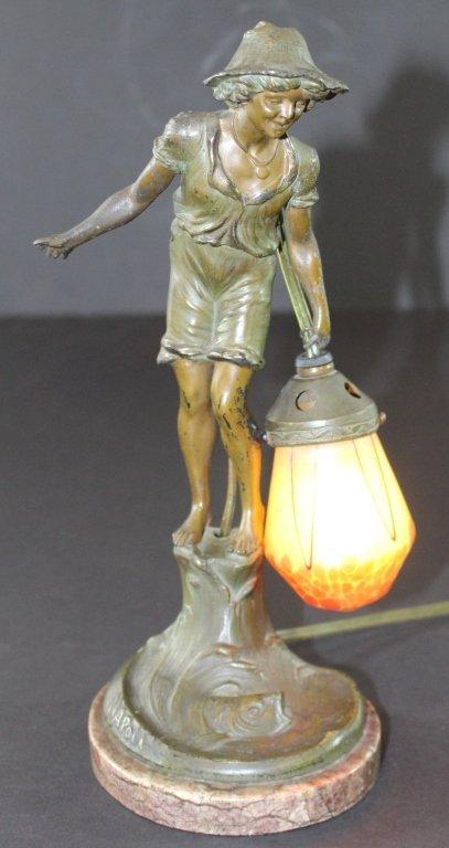 Bronze Figural Lamp signed Napoli