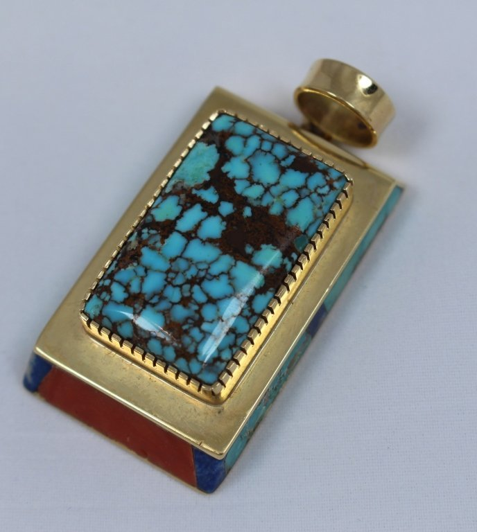 Turquoise and Coral Pendant by Gibson Nez