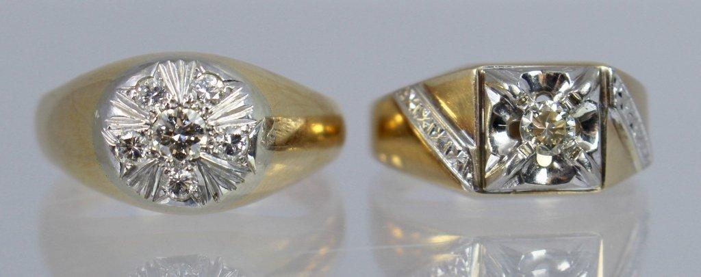 Two 14K Men's Diamond Rings