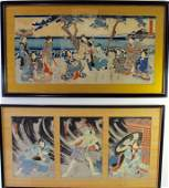 Two Japanese Triptych Woodblock Prints