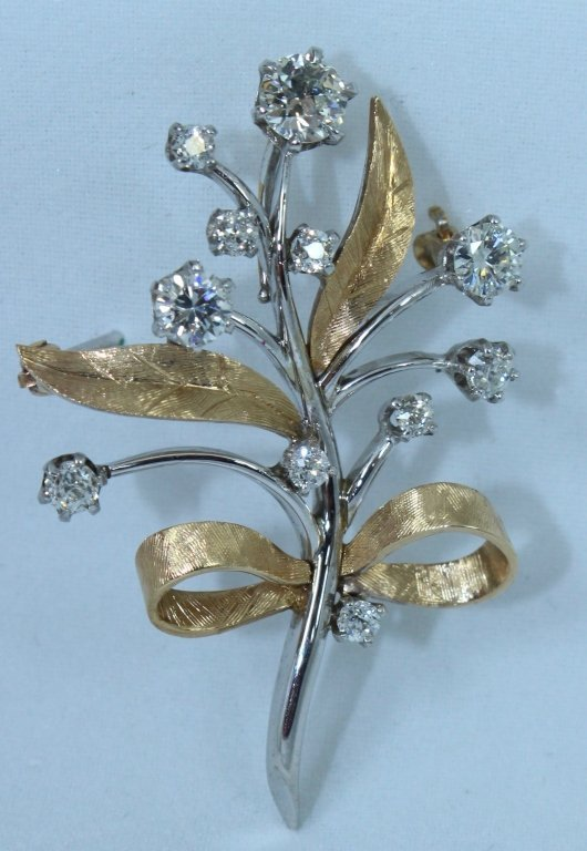14K White and Yellow Gold Floriform Pin
