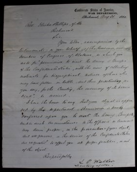 Civil War Letter From Secretary Of War