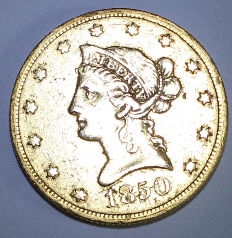 Rare 1850 $10 Gold Coin