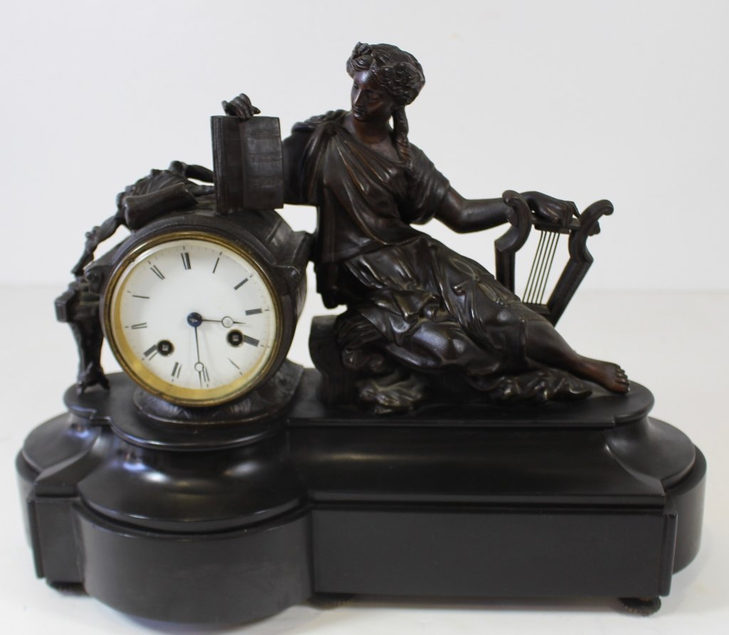 French Bronze Figural Mantle Clock