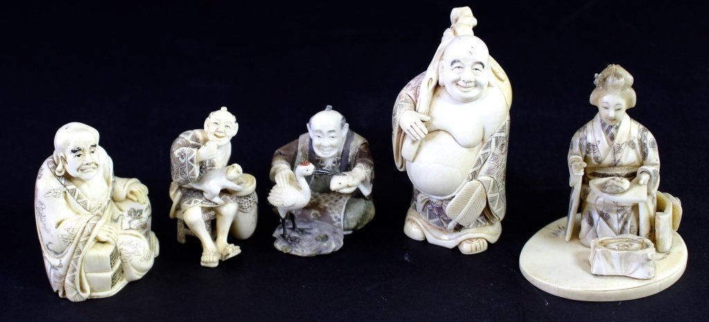 Group of 5 Carved Ivory Figures