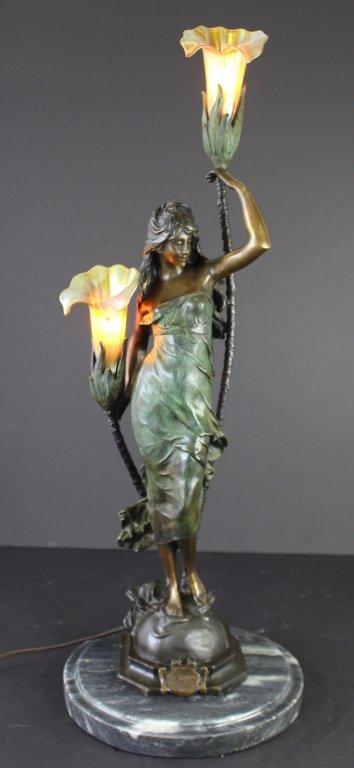 Auguste Moreau (after), Art Nouveau Lamp