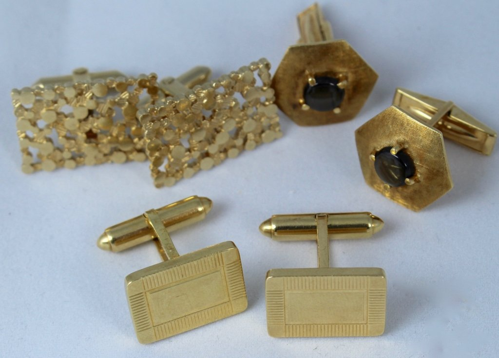 Three Sets of 14K Gold Cufflinks