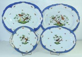 Herend Rothschild Bird Blue Border Platters