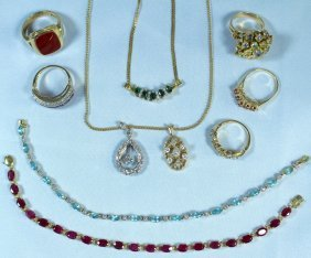 Ten Piece Group Estate Jewelry