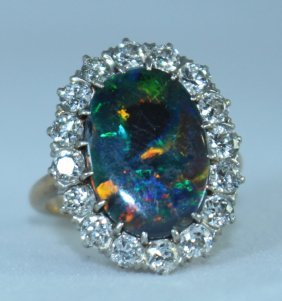 Beautiful Black Opal And Diamond Ring