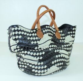Bottega Veneta Black/white Leather Tote