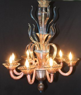 Fine Murano Chandelier And Matching Sconces